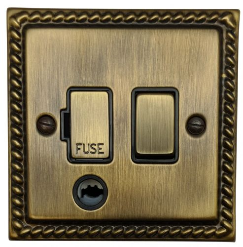 G&H MAB356 Monarch Roped Antique Bronze 1 Gang Fused Spur 13A Switched & Flex Outlet